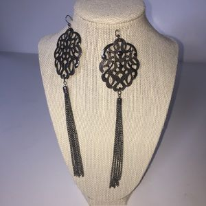 BeBe Dark Silver Dangle Earrings